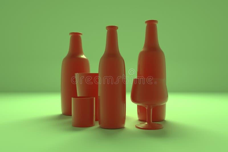 Hintergrundzusammenfassung cgi-Zusammensetzung, concepture Stilllebenflasche u. Glas f?r Entwurf, grafische Ressource Bunte 3D ?b vektor abbildung