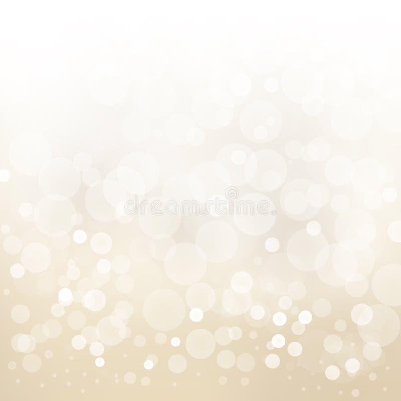 Hintergrundzusammenfassungsdesign-Unschärfekreis b des Weißgolds heller stock abbildung
