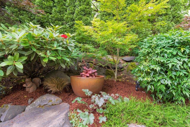 Hinterhof-Garten, der mit Goldtopf landschaftlich gestaltet stockbild