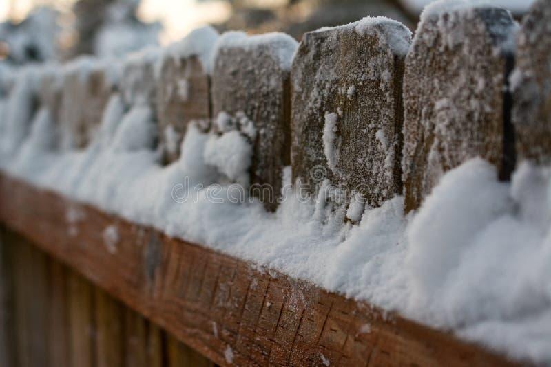 Hinterhofzaun bedeckt im Schnee stockfotos