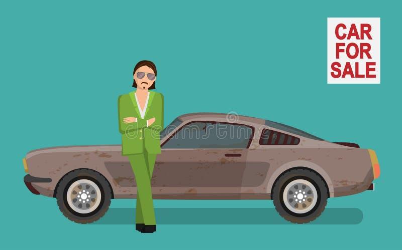 Hinterlistiger harter Junge, der alten Gebrauchtwagen auf Autoverkaufsmarkt verkauft stock abbildung