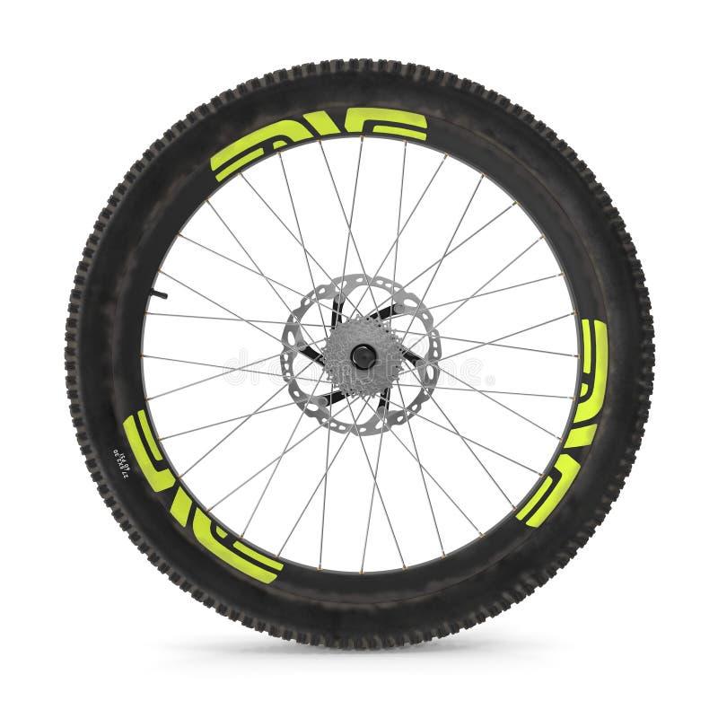 Hinterrad einer Mountainbike auf Weiß Abbildung 3D vektor abbildung