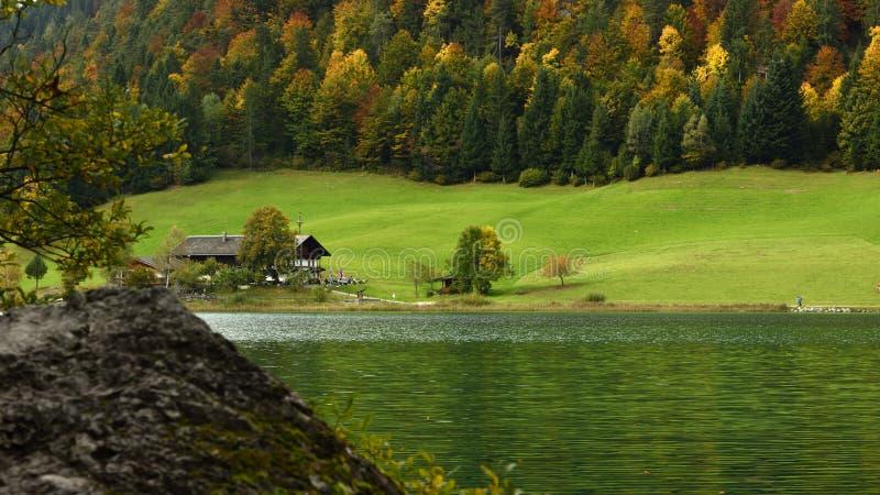 Hintersteinersee, Wilder Kaiser, Tirol, Austria. Autumn alpine scenery at Hinterstein lake under Wilder Kaiser mountains in Tirol - Austria stock photography