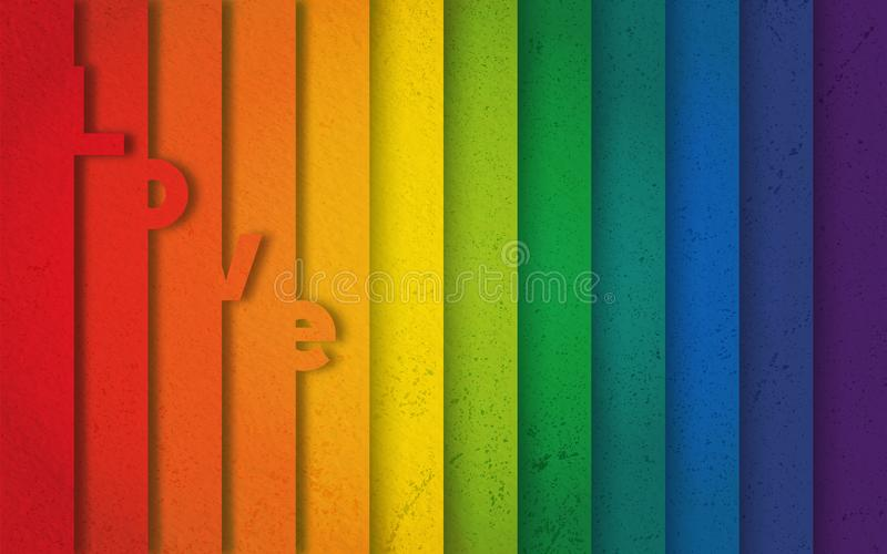 Hintertreppen lieben farbenfrohe Regenbogenpalette vektor abbildung