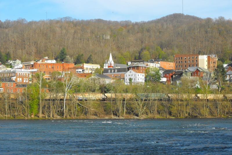 Hinton, West Virginia. Hinton, Summers County, West Virginia along the New River. This was once an important railroad town royalty free stock photography