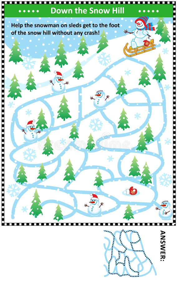 Hinunter den Schneehügel mit Schneemannlabyrinthspiel stock abbildung