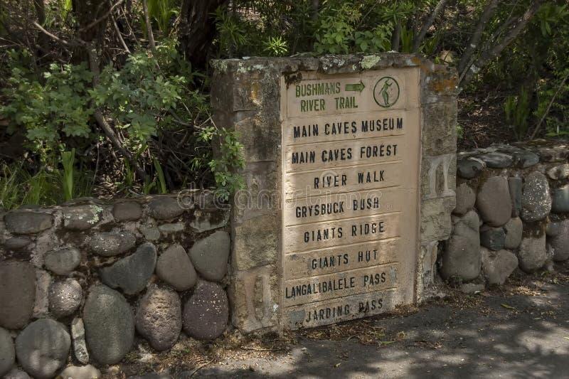 Hinweisendes Brett zu Giants-Schloss-Kwazulu Natal Natur reserv stockbilder