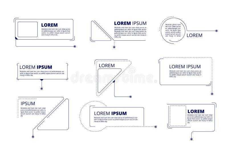 Hinweistitel Text beschriftet lokalisierten Satz der Technologiehinweismarketing-Titelkasten-Bauchbindestangen Vektor lizenzfreie abbildung