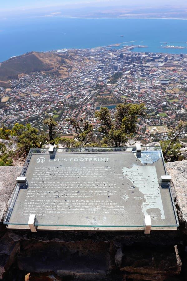 Hinweiszeichen auf Tafelberg in Cape Town stockfoto