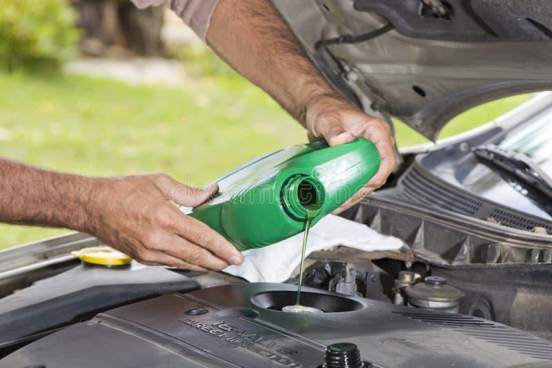 Hinzufügen des Schmieröls im Fahrzeug lizenzfreies stockfoto