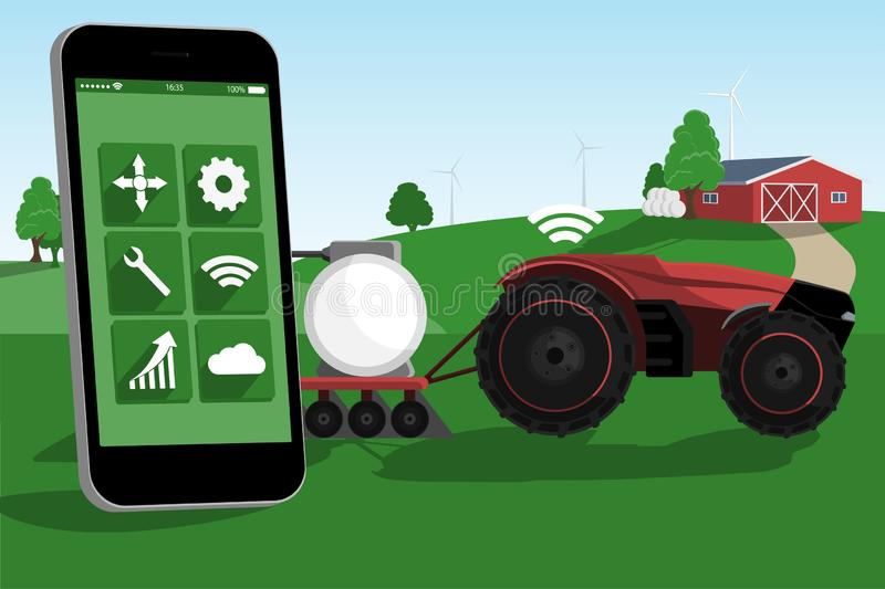 Control of autonomous tractor by mobile app royalty free illustration