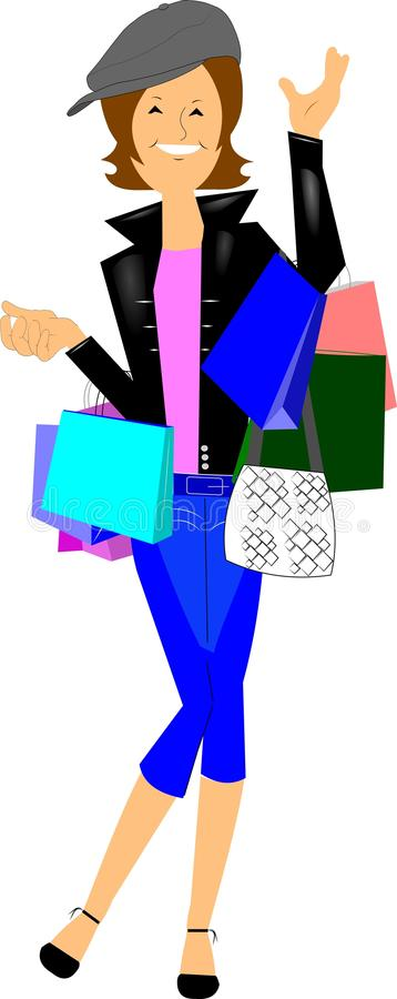 Hip chick shopping royalty free illustration