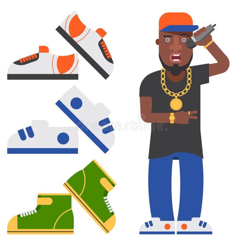 Hip Hop人辅助音乐家传染媒介辅助部件话筒breakdance传神斥责现代年轻时尚人成人 库存例证