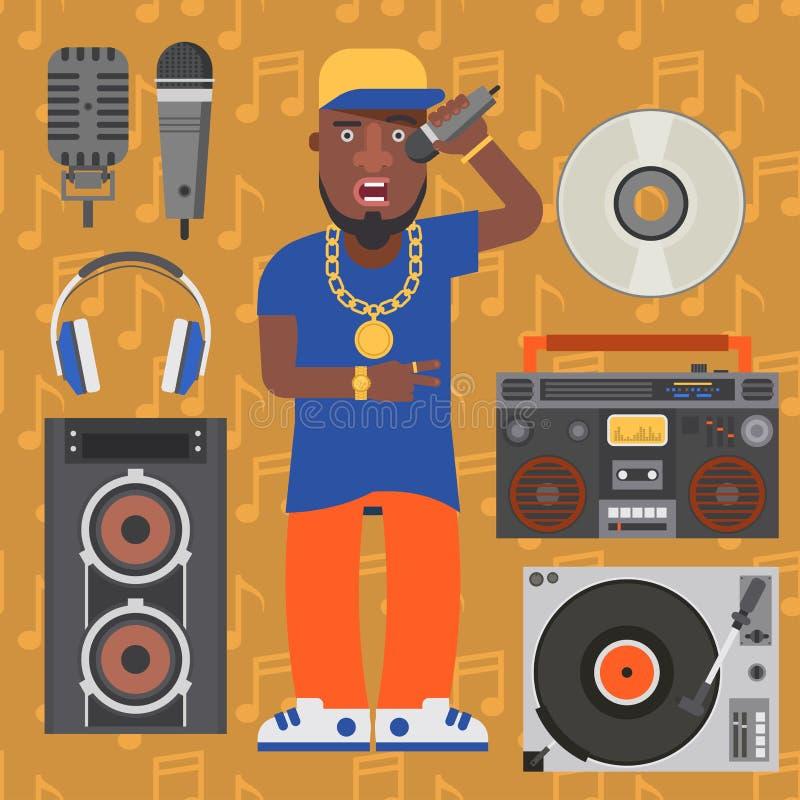 Hip Hop人辅助音乐家传染媒介辅助部件话筒breakdance传神斥责现代年轻时尚人成人 皇族释放例证
