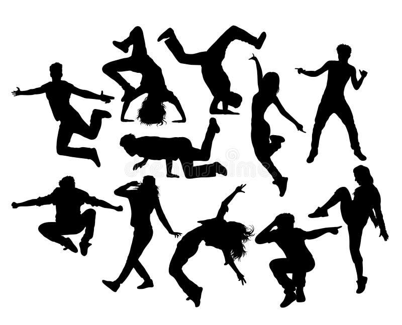 Hip Hop舞蹈家、男性和女性行动和活动剪影 向量例证