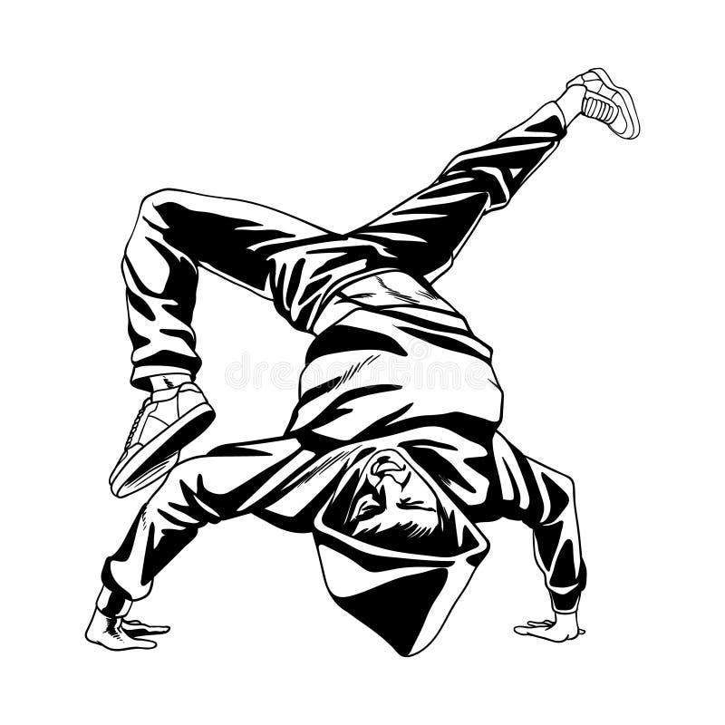 Hip Hop舞蹈家在他的手上的男孩立场 向量例证