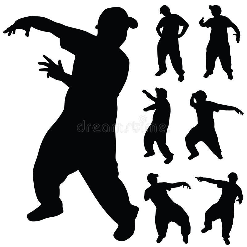 Hip Hop舞蹈家艺术剪影 库存例证