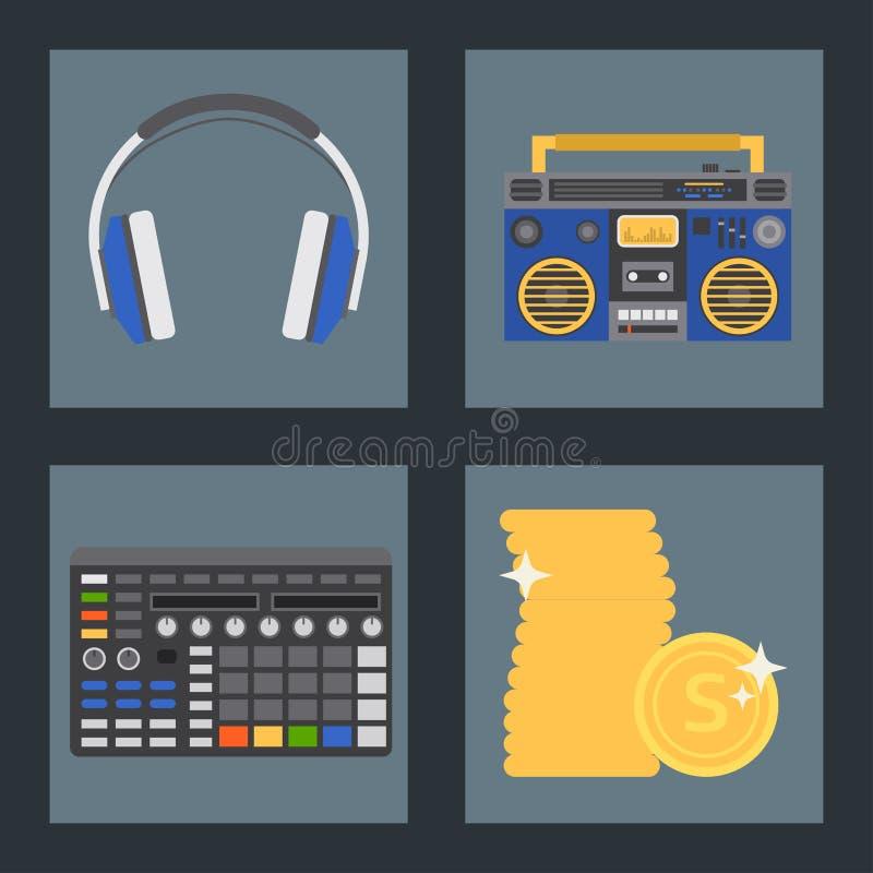 Hip Hop辅助传染媒介音乐家仪器辅助部件breakdance传神说唱音乐dj少年传神标志 库存例证