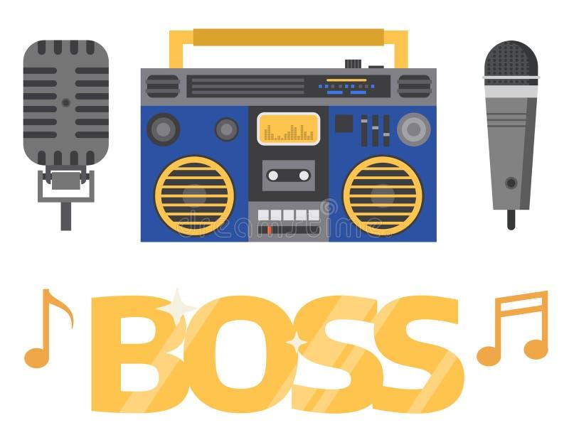 Hip Hop辅助传染媒介音乐家仪器辅助部件breakdance传神说唱音乐dj少年传神标志 向量例证