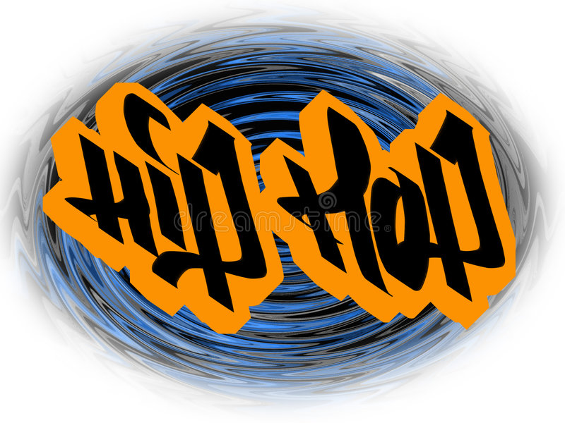 Hip-hop. Inscription hip-hop in style of graffiti made by means of a computer royalty free illustration
