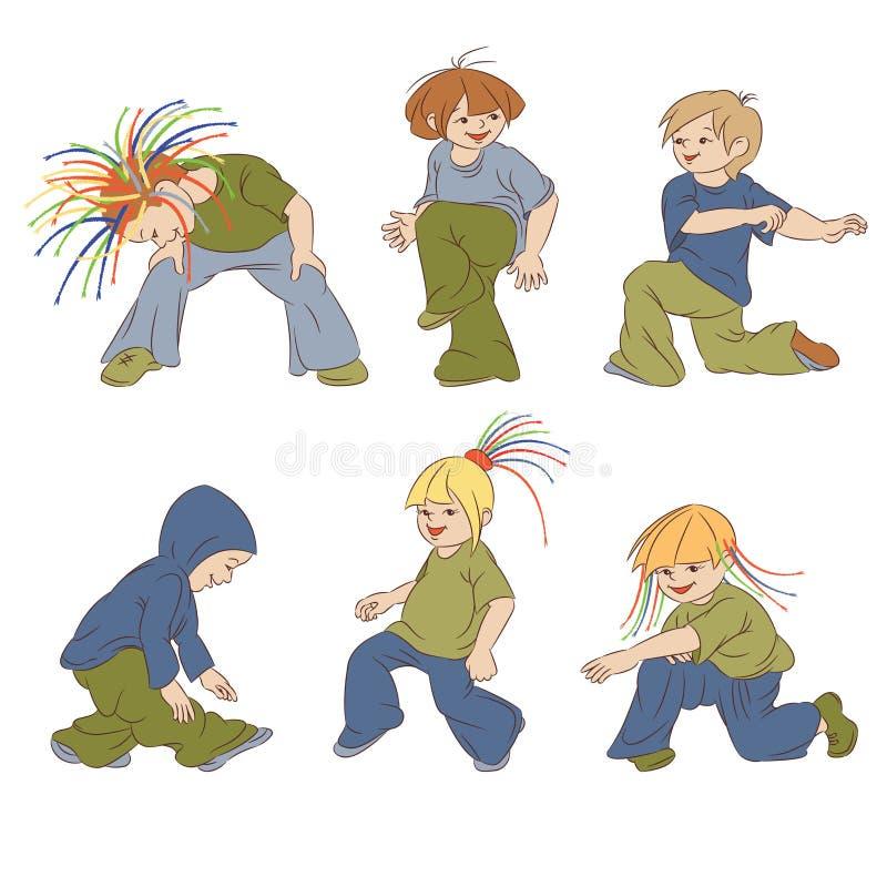 Hip-hop. The small children dancing hip-hop stock illustration