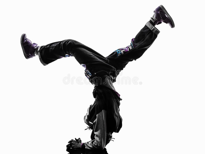 Hip hop acrobatic break dancer breakdancing young man handstand royalty free stock photos