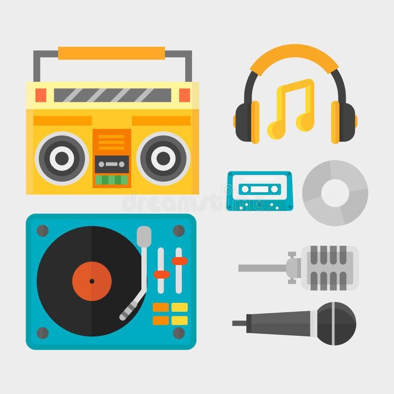 Hip hop akcesoryjny muzyk z mikrofonu breakdance rap symboli/lów wektoru ekspresyjną ilustracją royalty ilustracja