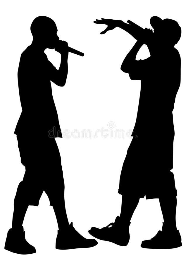 Hip hop artists five. Hip-hop artists with microphones on stage on white background royalty free illustration