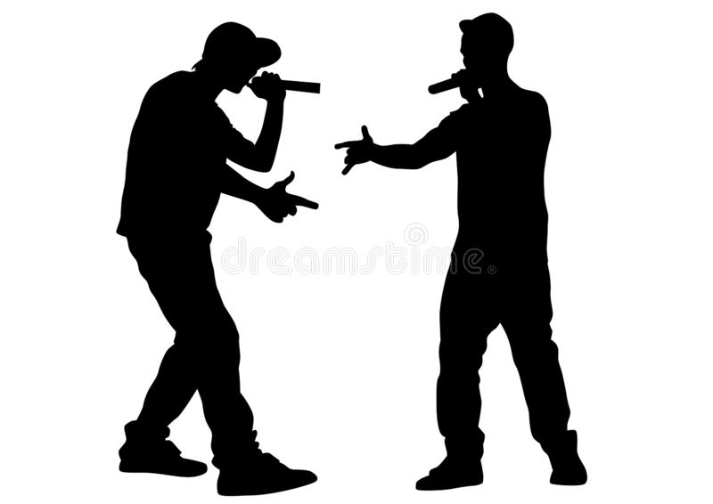 Hip hop artists four. Hip-hop artists with microphones on stage on white background vector illustration