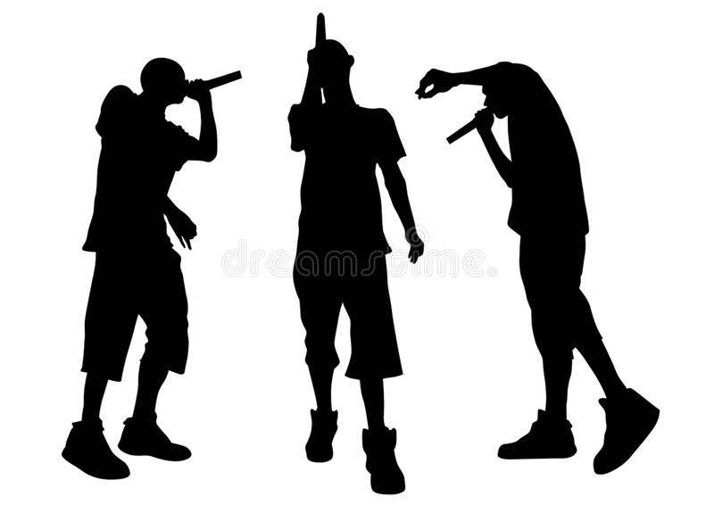 Hip hop artists nine. Hip-hop artists with microphones on stage on white background royalty free illustration