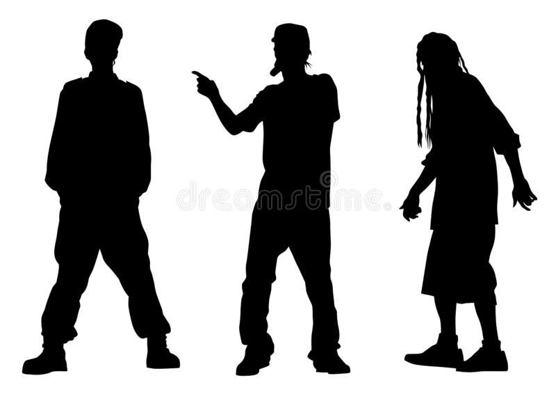 Hip hop artists one. Hip-hop artists with microphones on stage on white background vector illustration