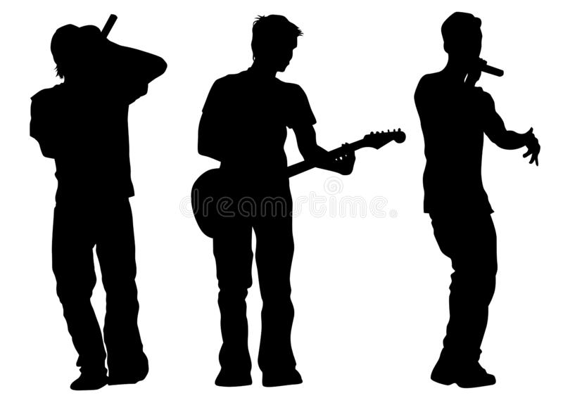Hip hop artists seven. Hip-hop artists with microphones on stage on white background royalty free illustration