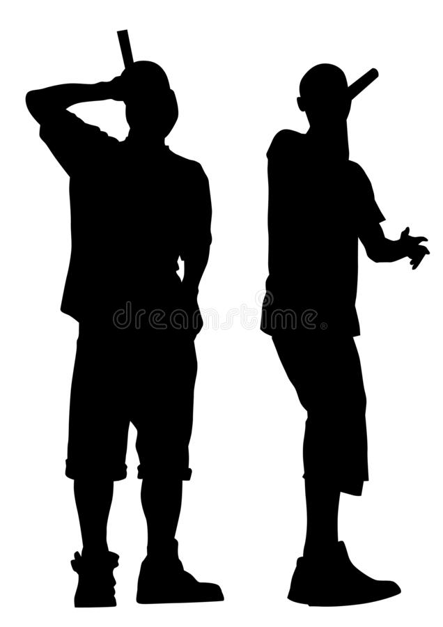 Hip hop artists six. Hip-hop artists with microphones on stage on white background vector illustration