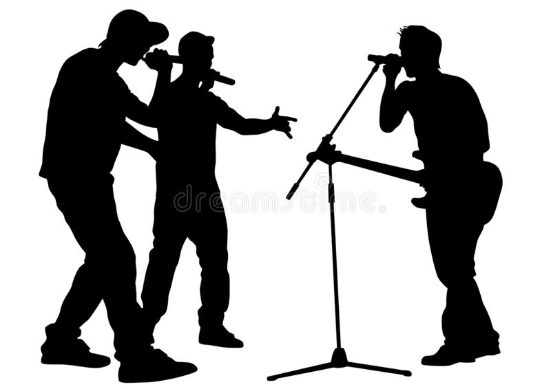 Hip hop artists three. Hip-hop artists with microphones on stage on white background stock illustration