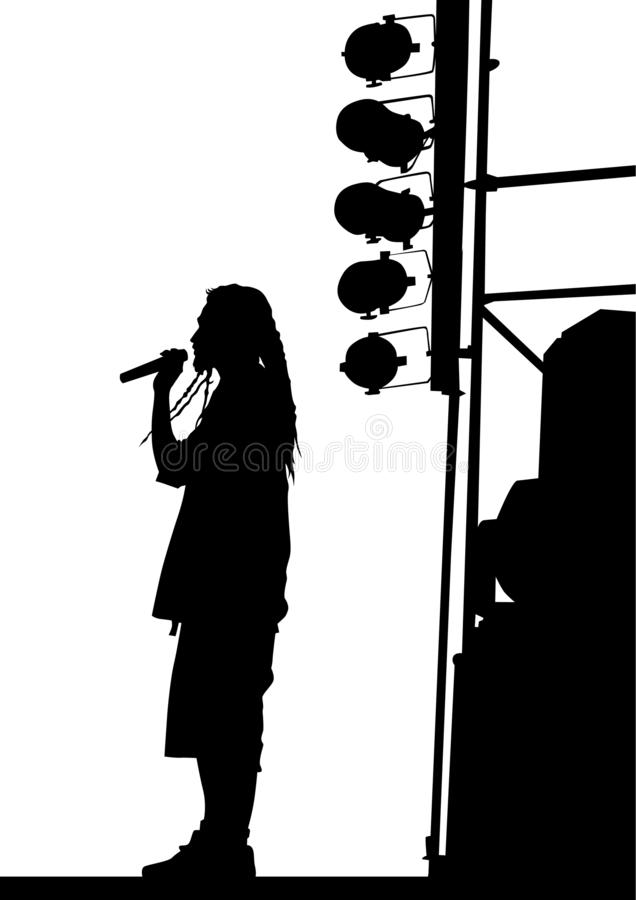 Hip hop artists two. Hip-hop artists with microphones on stage on white background stock illustration