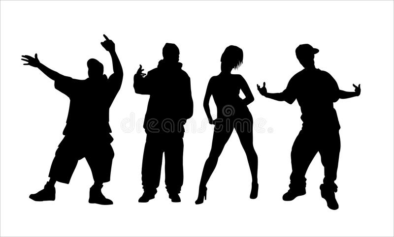 Hip hop attitude. Silhouettes of hip hop style vector illustration