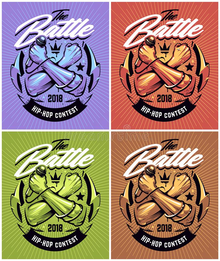 Hip-hop Battle Poster Designs. Design with crossed hands holding microphone and street art elements on sunburst background. Different coloring variations vector illustration