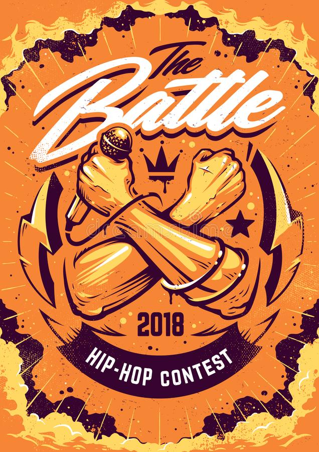 Hip-hop Battle Poster Design. Hip-hop Battle Poster template. Design with crossed hands holding microphone and street art elements on dramatic cloud sky stock illustration