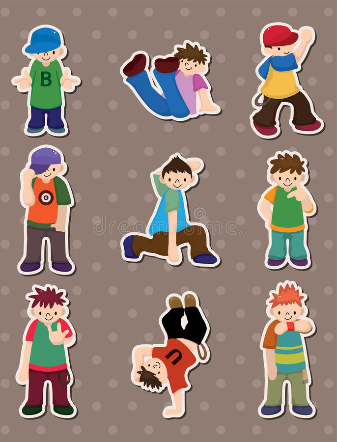 Hip Hop Boy Stickers Stock Photography