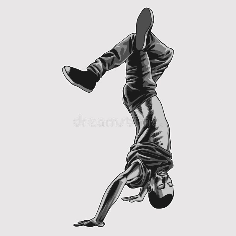 Hip hop chłopiec dancingowa ilustracja ilustracja wektor