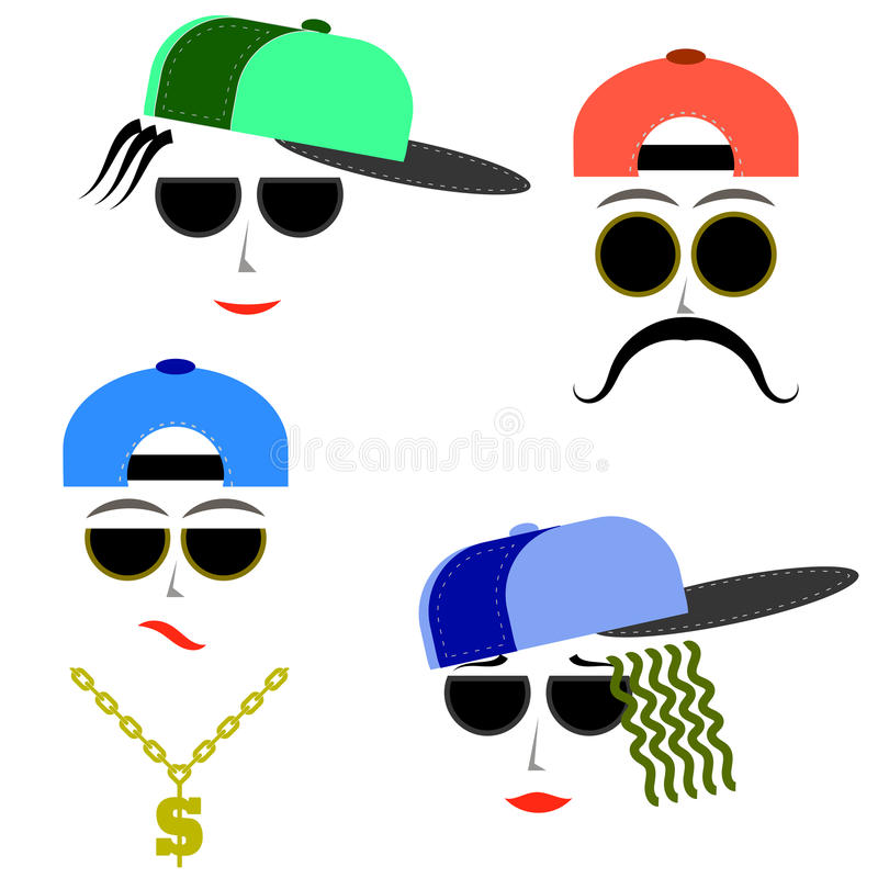 Hip Hop chłopiec twarze royalty ilustracja