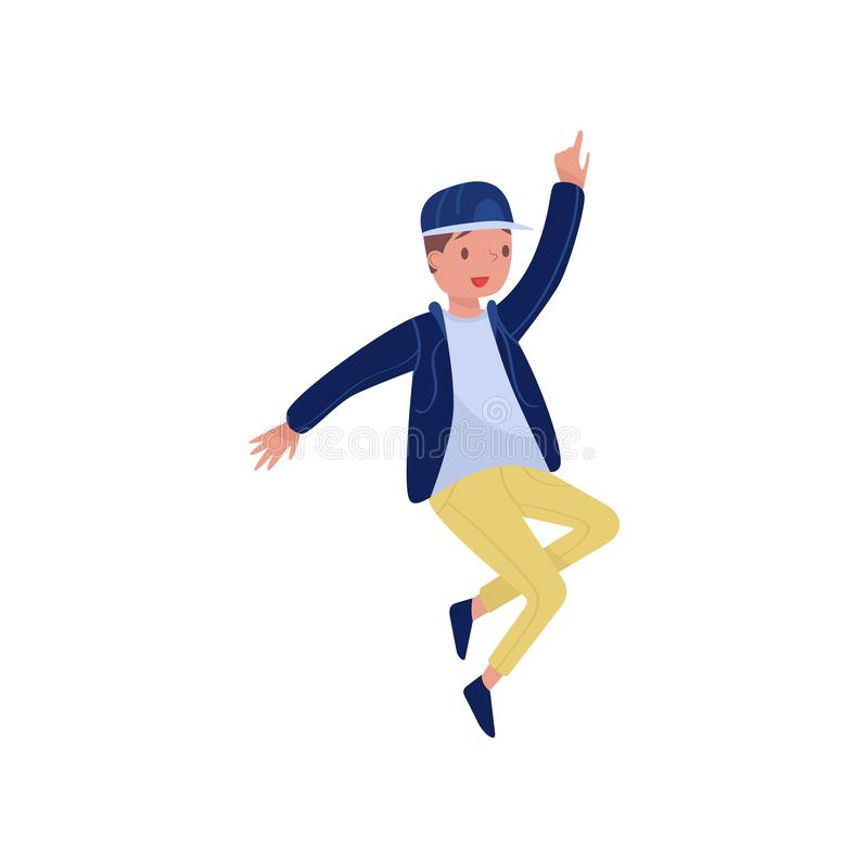 Hip-hop dancer in action. Teenager boy with happy face. Party time. Flat vector element for promo poster of dance school. Hip-hop dancer in action. Young guy in royalty free illustration