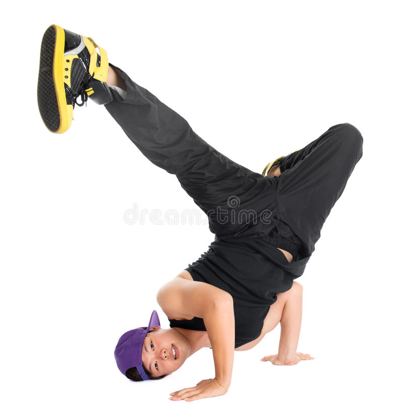 Hip hop dancer. Full body cool looking Asian teen dance hip hop isolated on white background. Asian youth culture royalty free stock photography