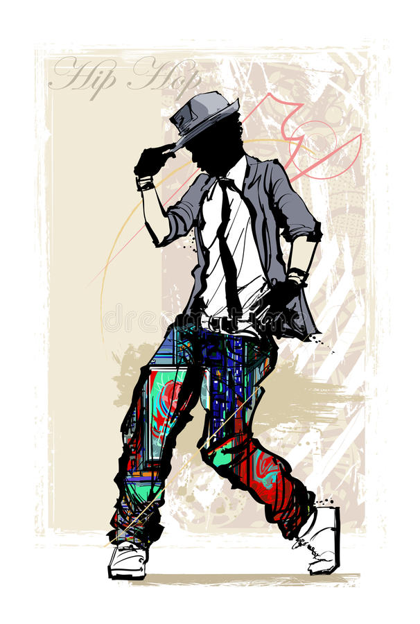 Hip hop dancer on grunge background stock illustration