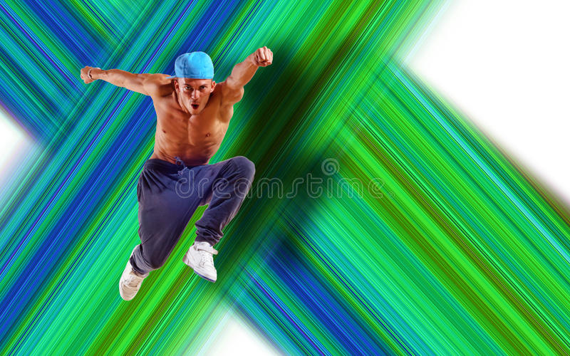 Hip hop dancer jumping. Space for text, collage royalty free stock photography
