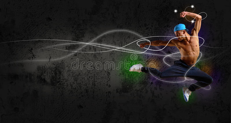 Hip hop dancer jumping. Space for text, collage stock illustration