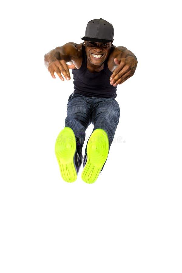 Hip Hop Dancer Jumping High or Parkour stock image