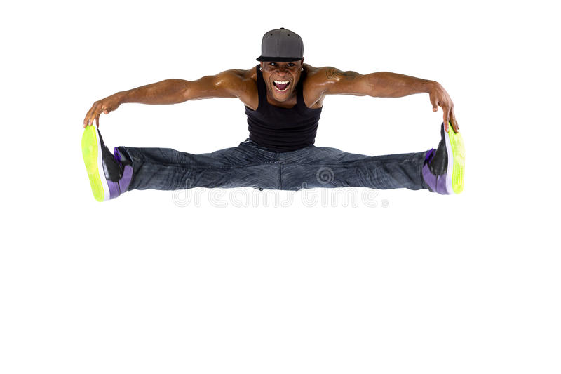 Hip Hop Dancer Jumping High or Parkour royalty free stock photography