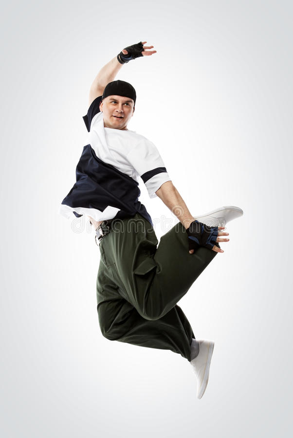 Hip-hop dancer jumping, isolated with clipping pach stock photo