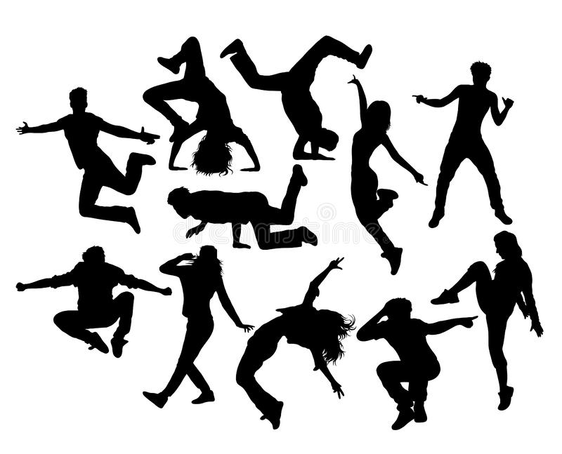 Hip Hop Dancer, male and female action and activity Silhouettes vector illustration